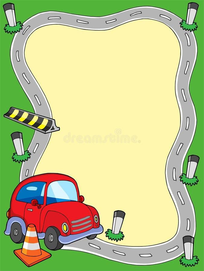 Marco del camino con el pequeño coche stock de ilustración