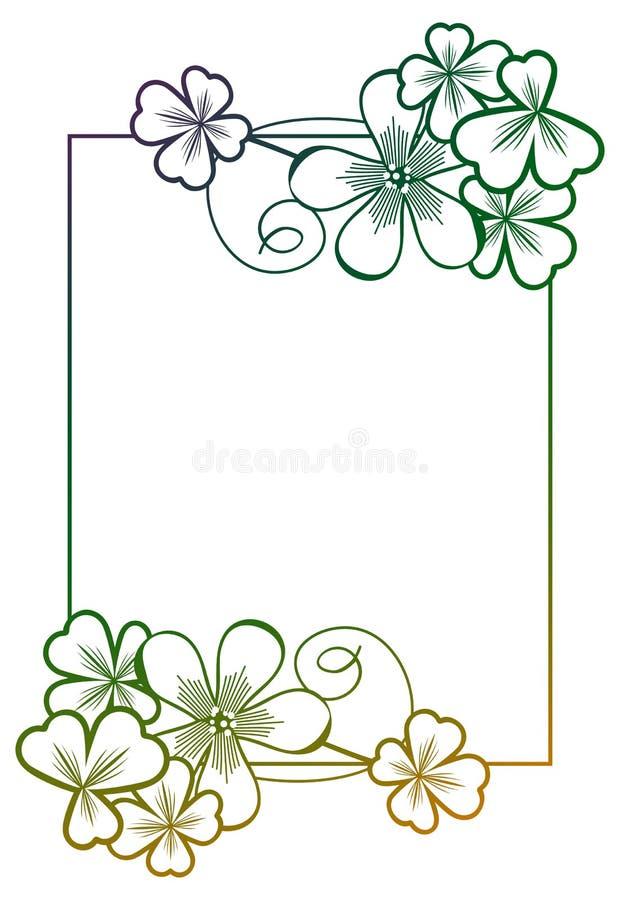 Marco del color de la pendiente con contorno del trébol Clip art de la trama fotos de archivo