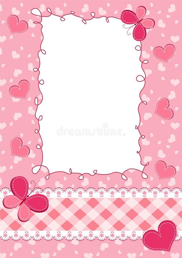 Marco del color de rosa de bebé. stock de ilustración