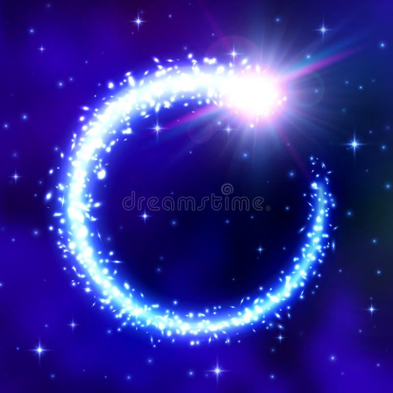 Marco del cometa que brilla intensamente en fondo azul del espacio libre illustration