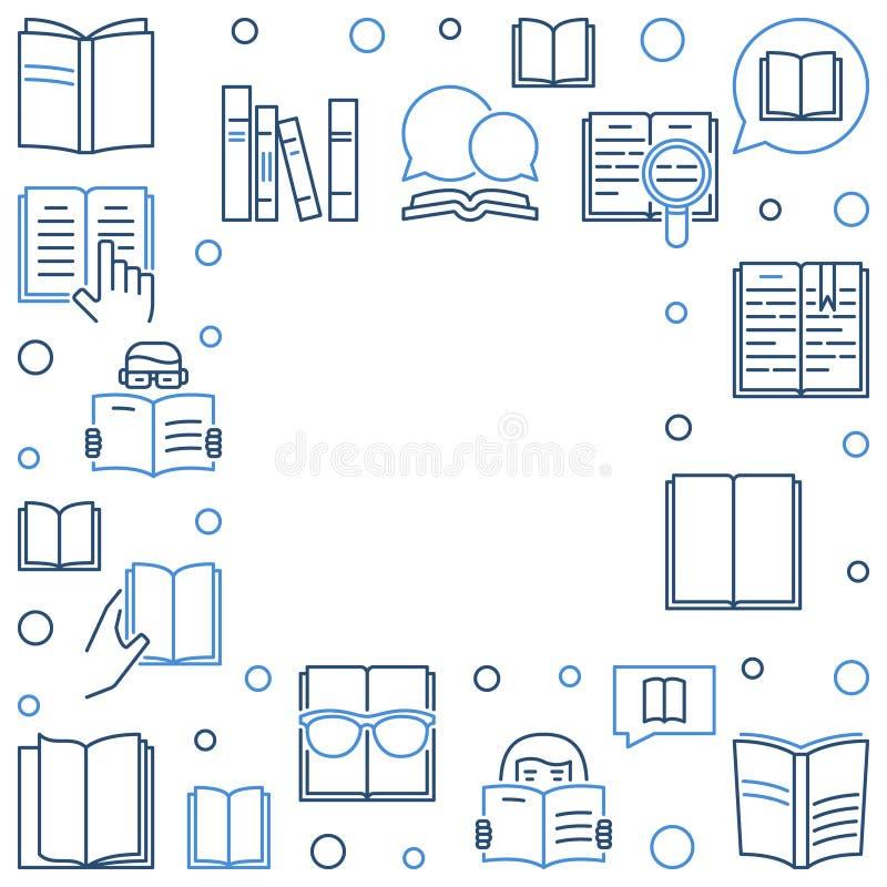 Marco del concepto del esquema de la biblioteca del libro - ejemplo del vector ilustración del vector
