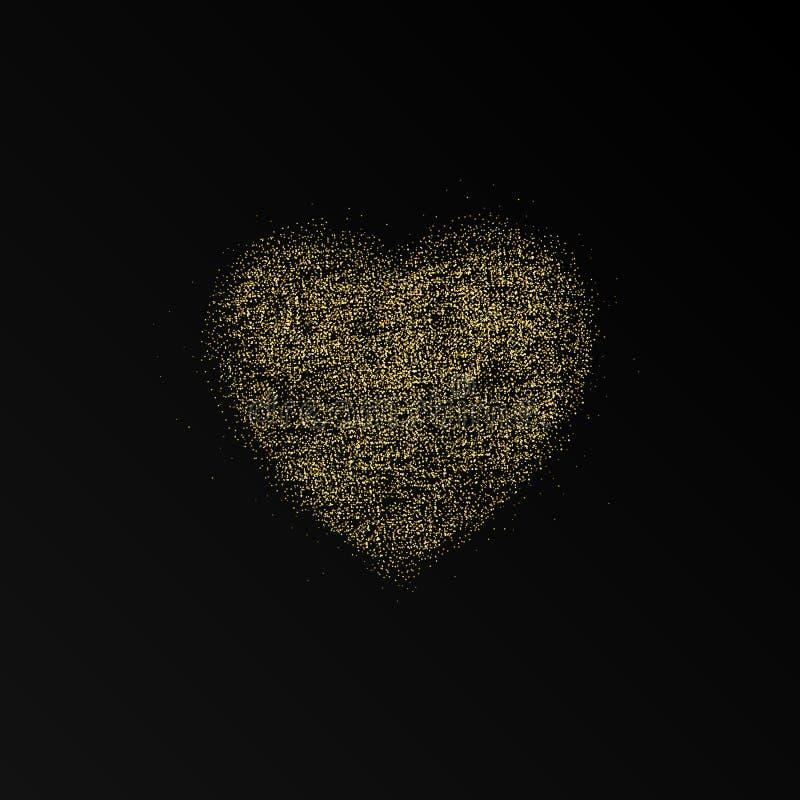 Marco del corazón del brillo Fondo feliz del día de tarjetas del día de San Valentín Corriente del oro que brilla intensamente de stock de ilustración
