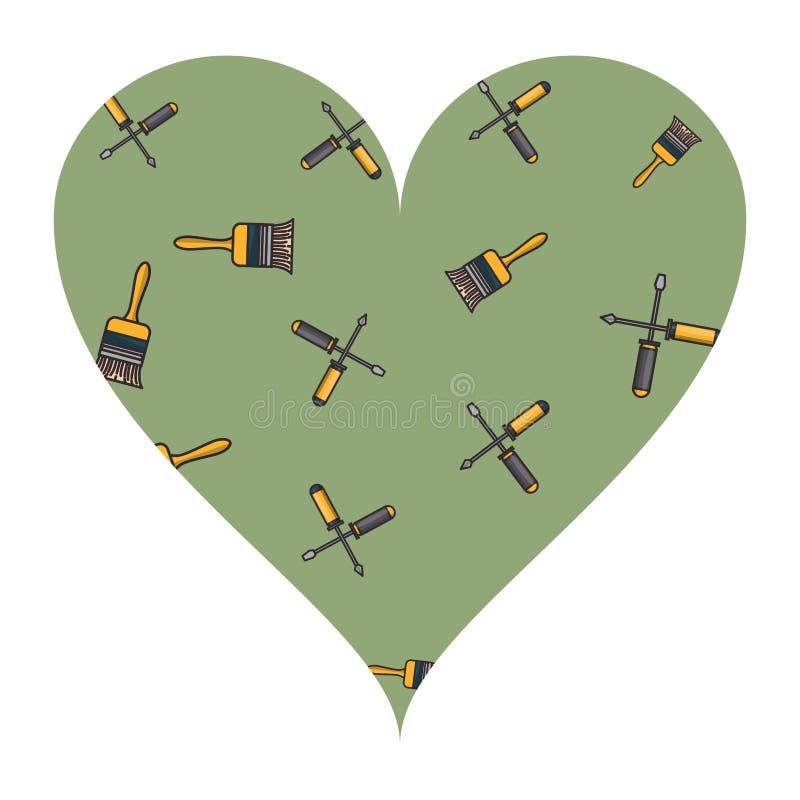 Marco del corazón de la brocha y de los destornilladores stock de ilustración