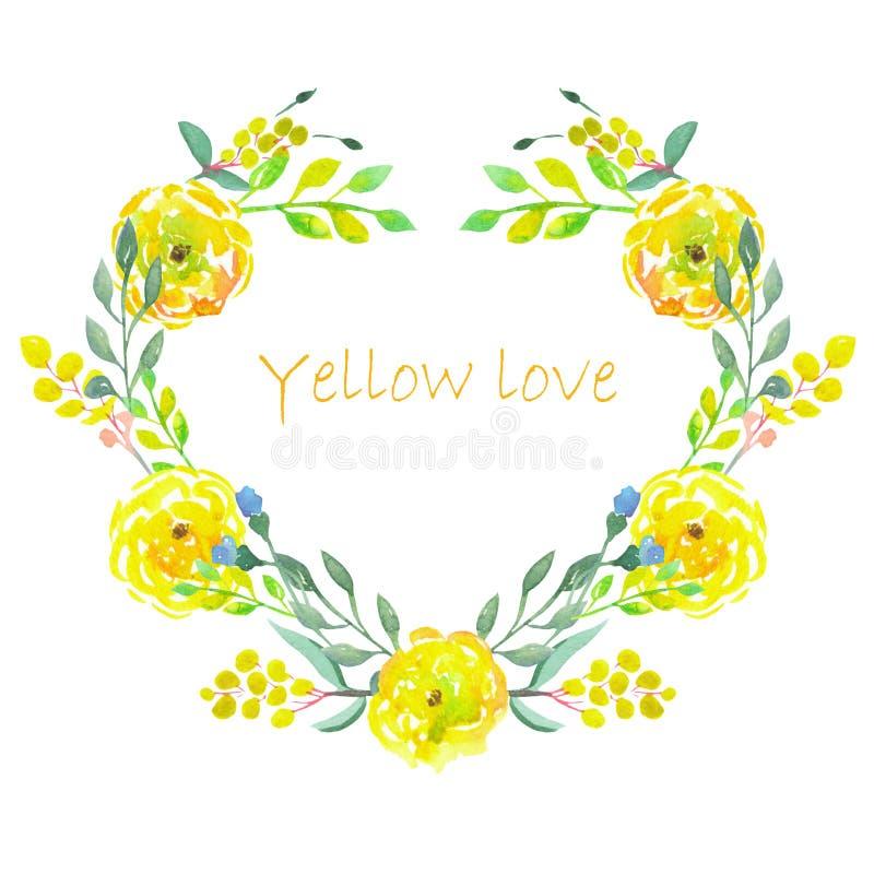 Marco del corazón de las flores del amarillo de la acuarela ilustración del vector