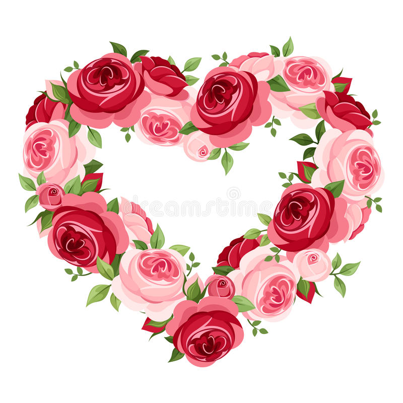 Marco del corazón de las rosas. ilustración del vector