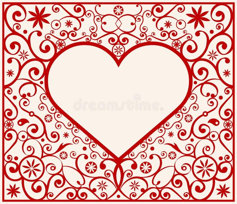 Marco del corazón del modelo ilustración del vector