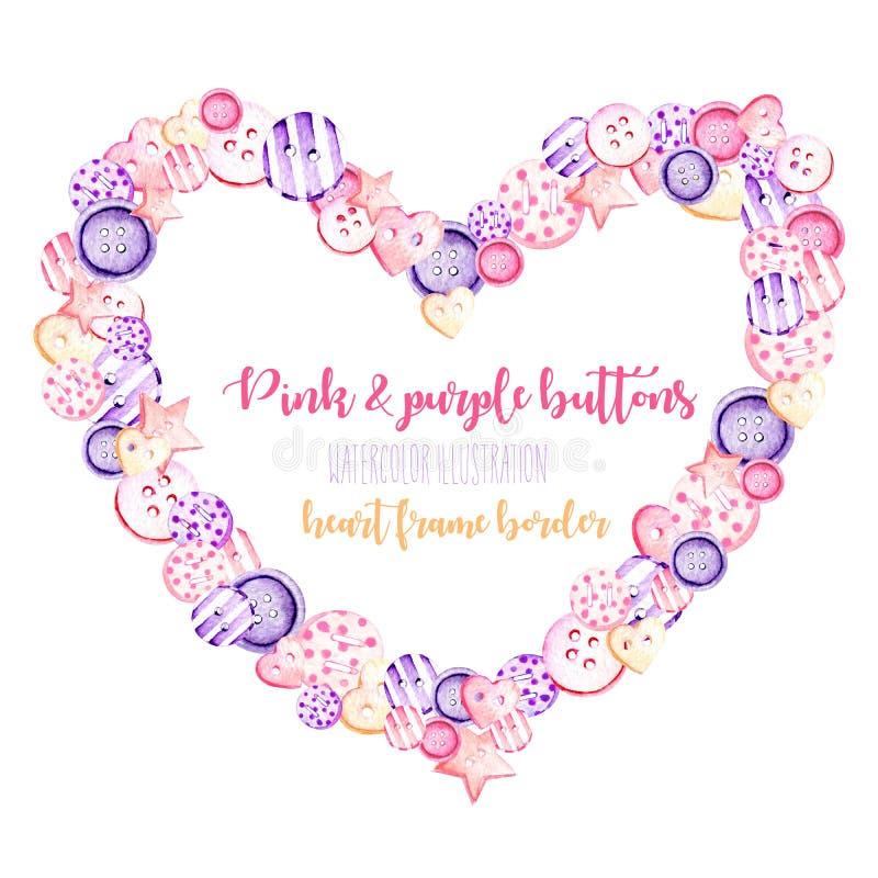 Marco del corazón, frontera con los botones rosados y púrpuras de la acuarela stock de ilustración
