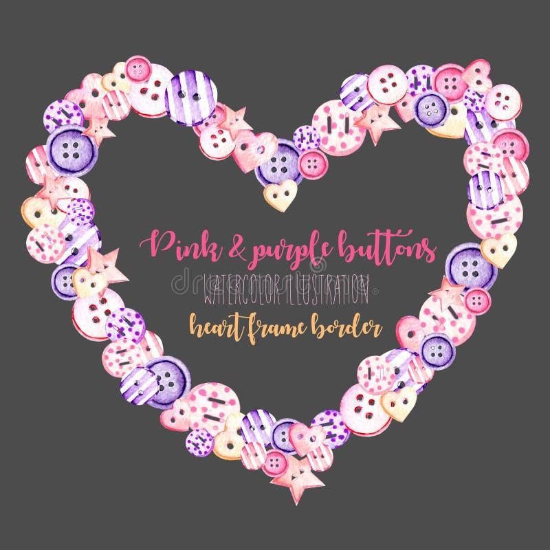 Marco del corazón, frontera con los botones rosados y púrpuras de la acuarela libre illustration