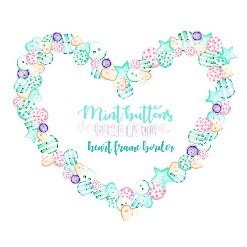 Marco del corazón, frontera con rosa de la acuarela y botones de la menta libre illustration