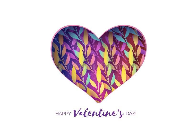 Marco del corazón Tarjeta de felicitaciones del día de tarjetas del día de San Valentín El papel realista cortó las flores blanca ilustración del vector