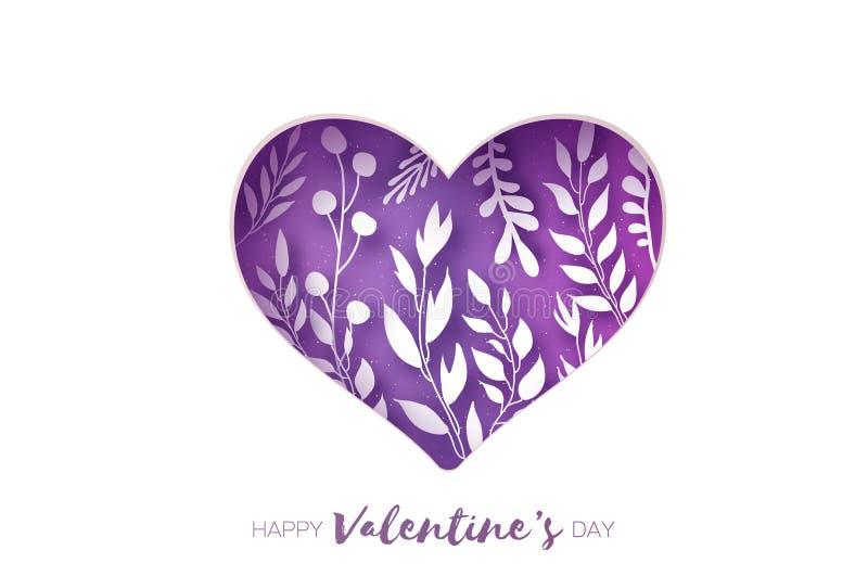 Marco del corazón Tarjeta de felicitaciones del día de tarjetas del día de San Valentín El papel realista cortó las flores blanca libre illustration