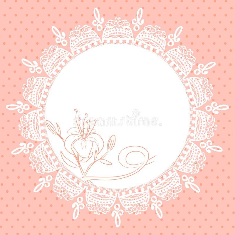Marco del cordón con bosquejo del lirio stock de ilustración
