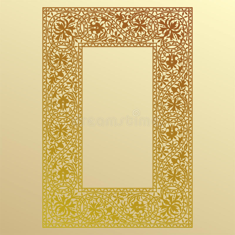Marco del cordón del oro stock de ilustración