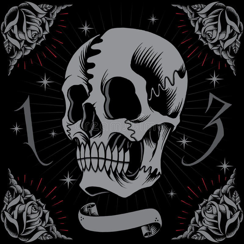 Marco del cráneo y de las rosas ilustración del vector