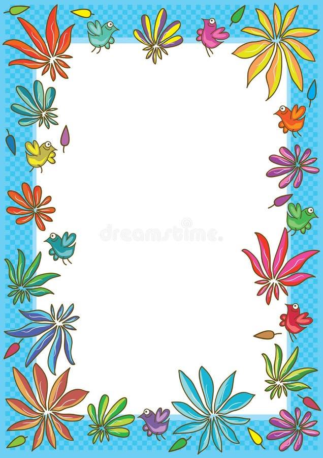 Marco del cuadrado del pájaro de la flor stock de ilustración