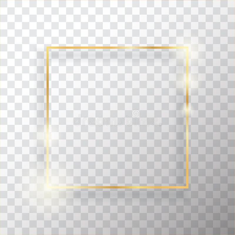 Marco del cuadrado del oro o frontera rectangular de lujo de oro ilustración del vector