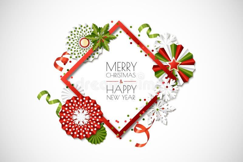 Marco del día de fiesta del vector con las estrellas y los copos de nieve del papel en colores verdes, rojos Feliz Navidad, tarje libre illustration