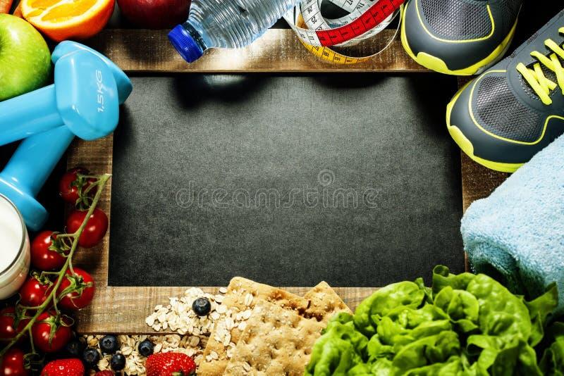 Marco del deporte y de la dieta foto de archivo libre de regalías