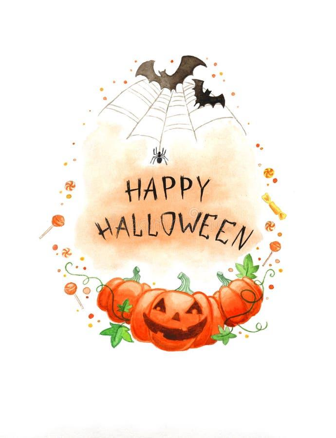 Marco del feliz Halloween de la pintura de la acuarela fotografía de archivo libre de regalías