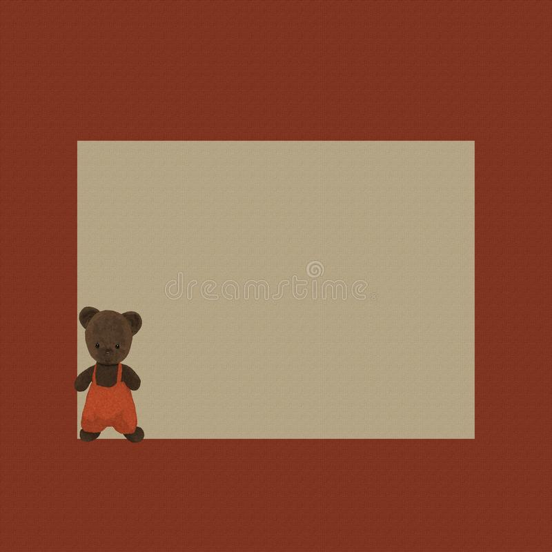 Marco del fondo con el oso de peluche antiguo foto de archivo libre de regalías