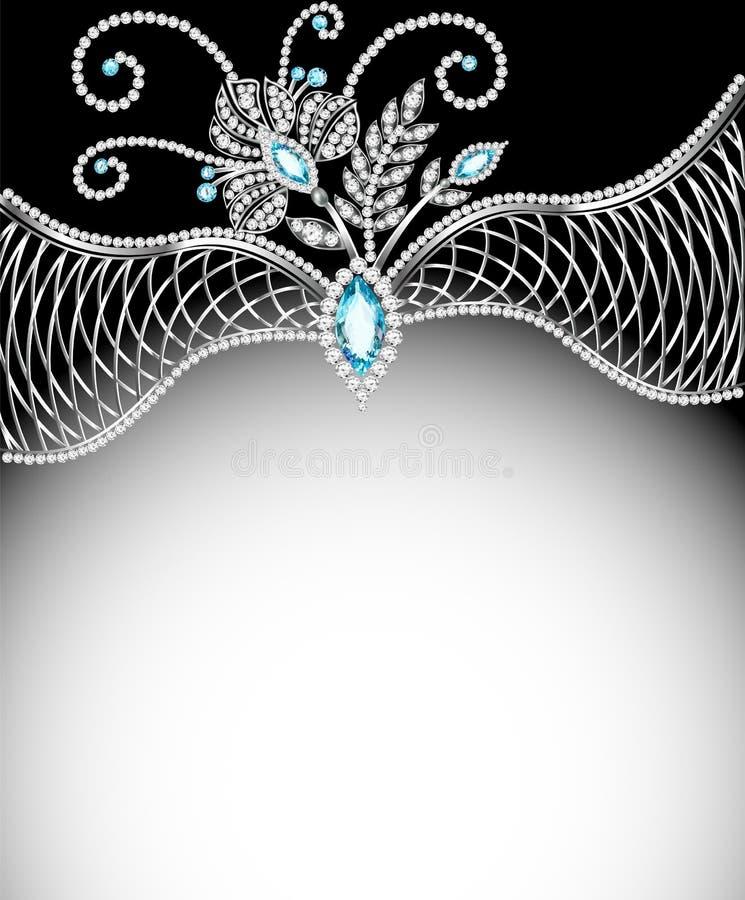 Marco del fondo con las joyas de los ornamentos de plata libre illustration