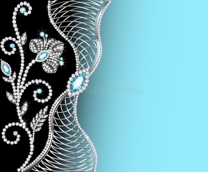 Marco del fondo con las joyas de ornamentos stock de ilustración
