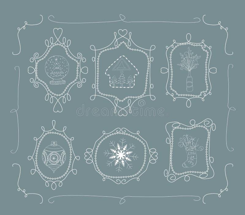 Marco del garabato de la Navidad stock de ilustración