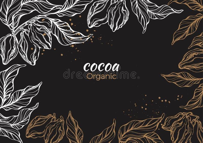 Marco del gráfico de vector del cacao, rama stock de ilustración
