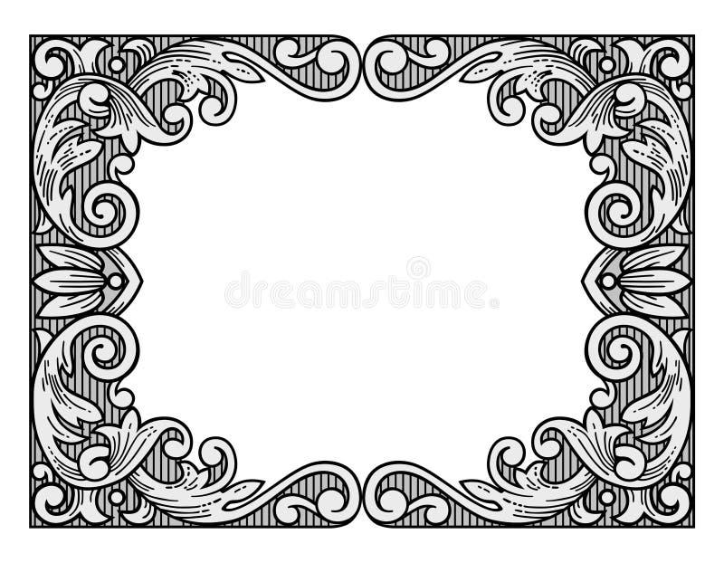 Marco del grabado de la flor ilustración del vector