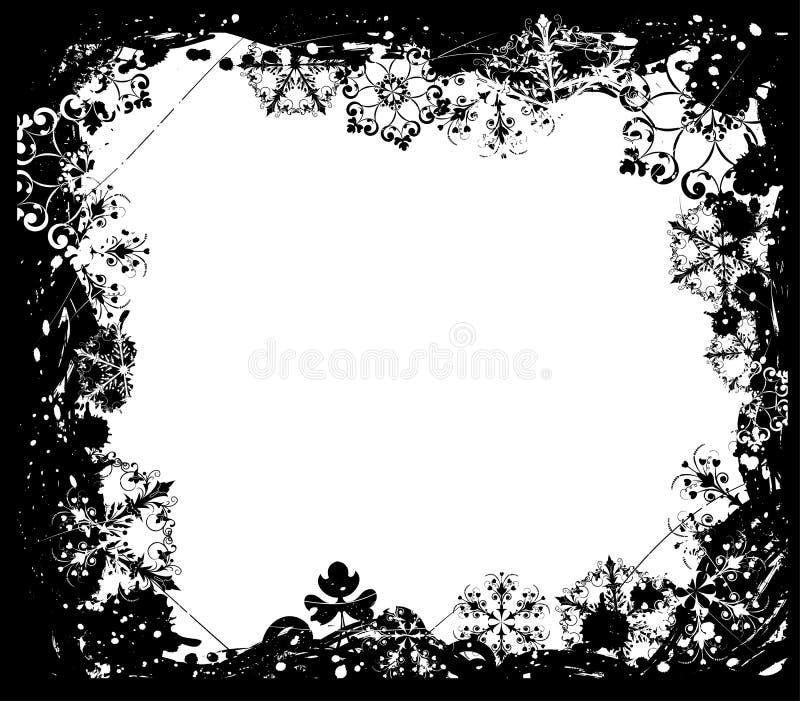 Marco del grunge del copo de nieve, elementos para el diseño, vector ilustración del vector