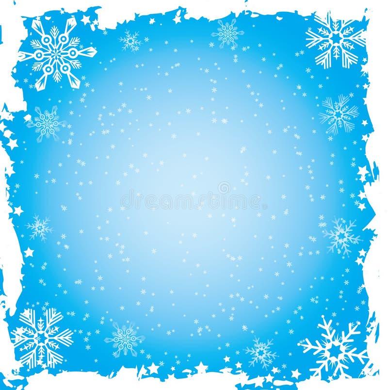 Marco del grunge del copo de nieve, vector ilustración del vector