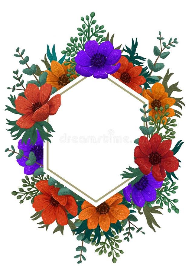 Marco del hexágono de las flores salvajes Coloree el ejemplo digital del lápiz Diseño vertical con las anémonas y el espacio herm imagenes de archivo