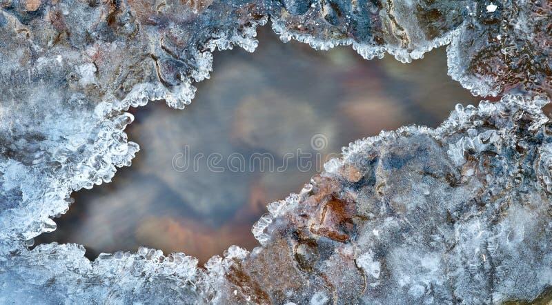 Marco del hielo sobre el detalle congelado del invierno del río