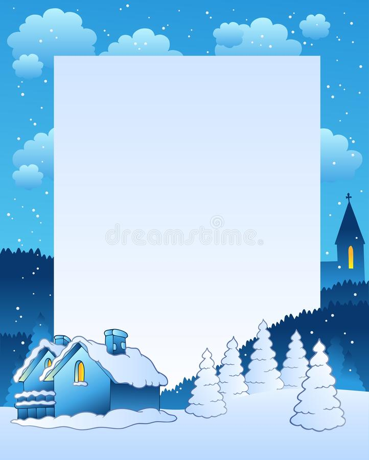 Marco del invierno con la pequeña aldea stock de ilustración