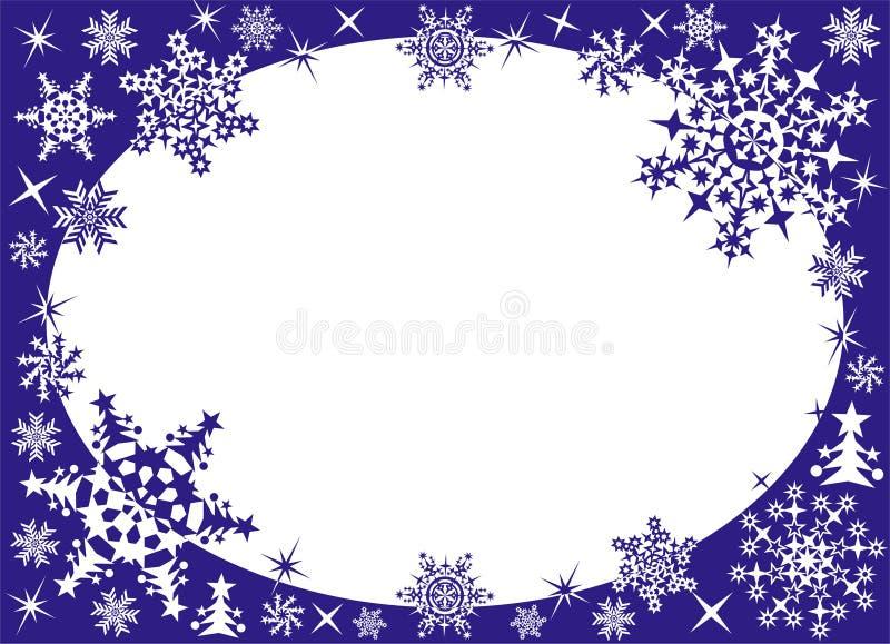 Marco del invierno con los copos de nieve ilustración del vector