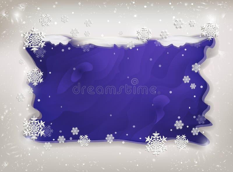 Marco del invierno con los copos de nieve y nieve para el texto en púrpura stock de ilustración