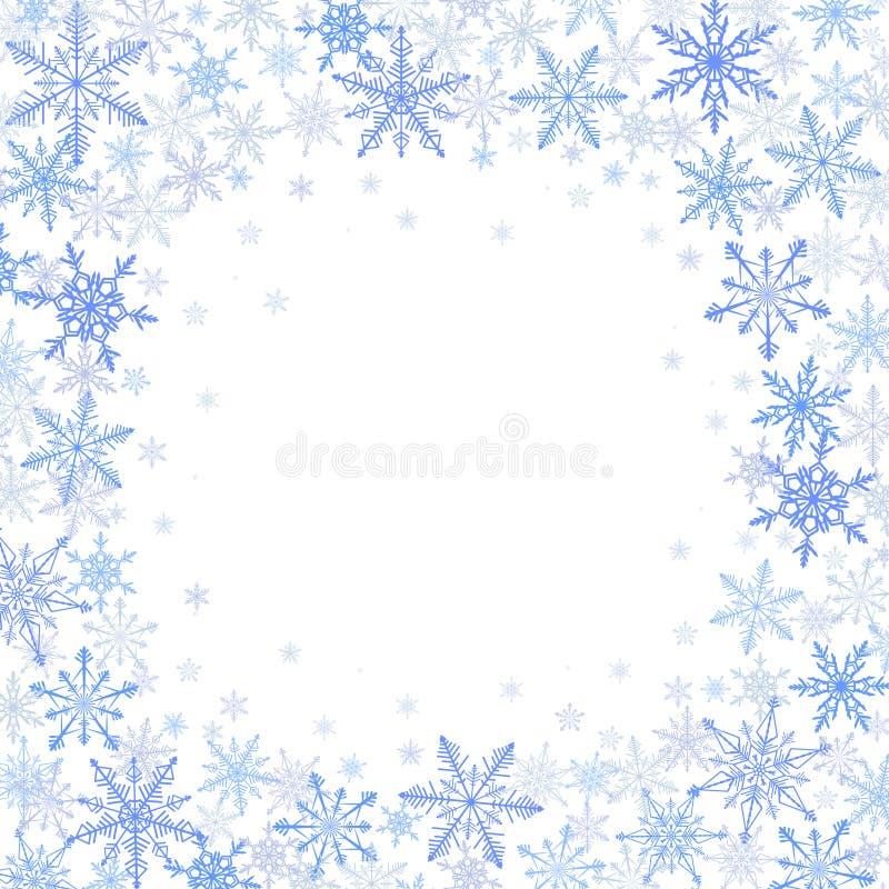 Marco del invierno de copos de nieve azules en el fondo blanco ilustración del vector