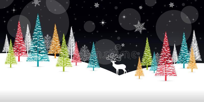Marco del invierno de la Navidad - ejemplo Naturaleza del negro de la tarjeta de Navidad - ningún paisaje del texto ilustración del vector