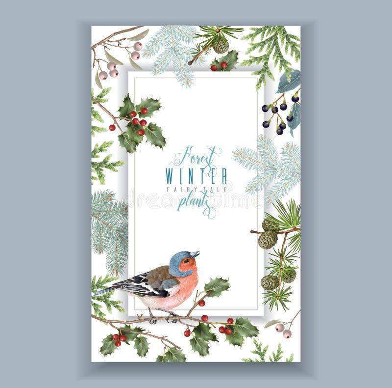 Marco del invierno del pájaro stock de ilustración