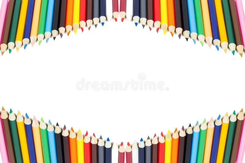 Marco del lápiz del color con blanco fotos de archivo