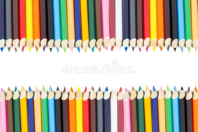 Marco del lápiz del color con blanco imagen de archivo libre de regalías