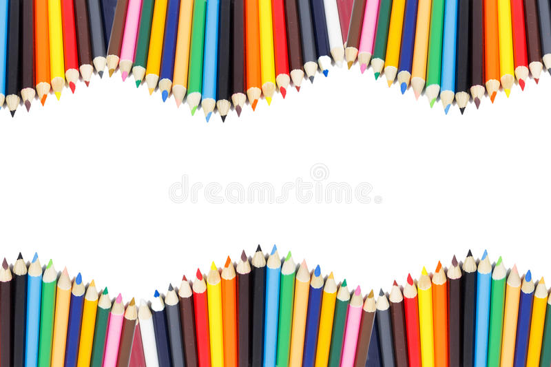 Marco del lápiz del color con blanco imagen de archivo