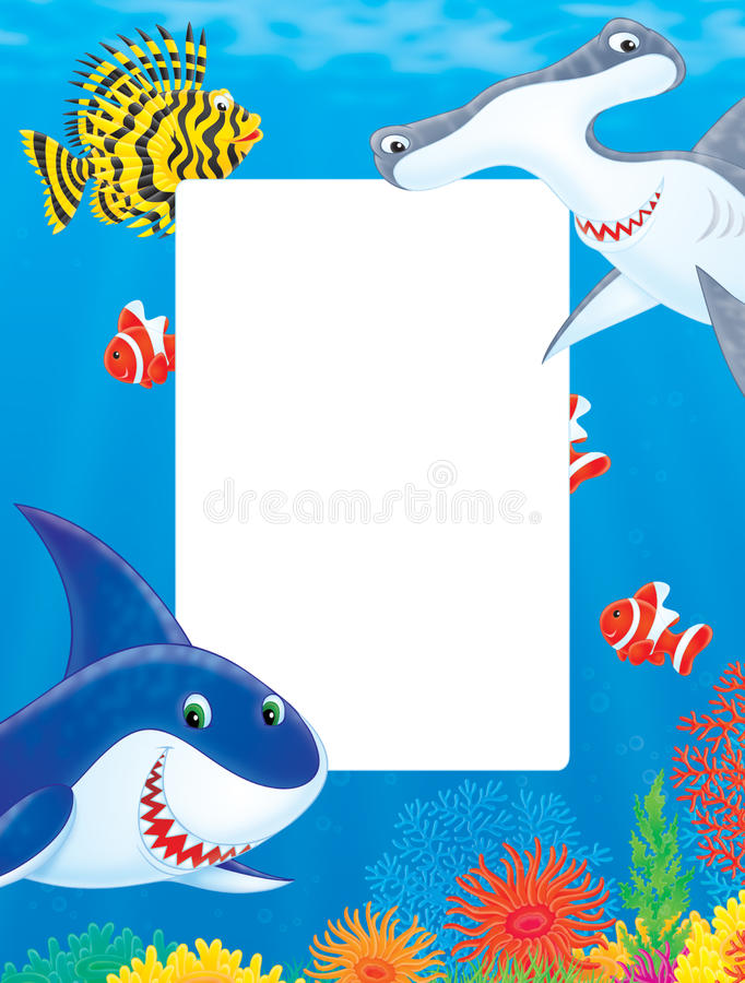 Marco del mar con los tiburones y los pescados stock de ilustración