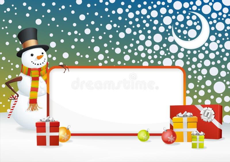 Download Marco del muñeco de nieve ilustración del vector. Ilustración de noche - 7284429