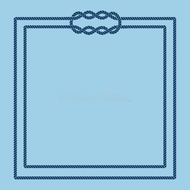 Marco del nudo de la cuerda del marinero stock de ilustración