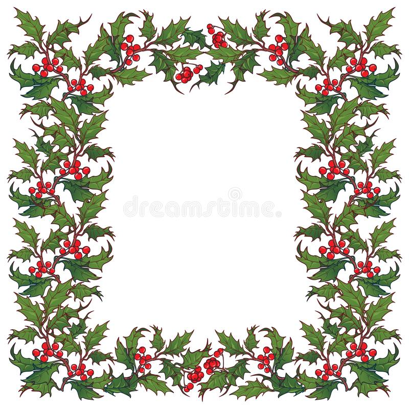 Marco del ornamental de la Navidad Ramas del acebo con las hojas y las bayas Plantilla de la tarjeta de felicitación de la Navida libre illustration