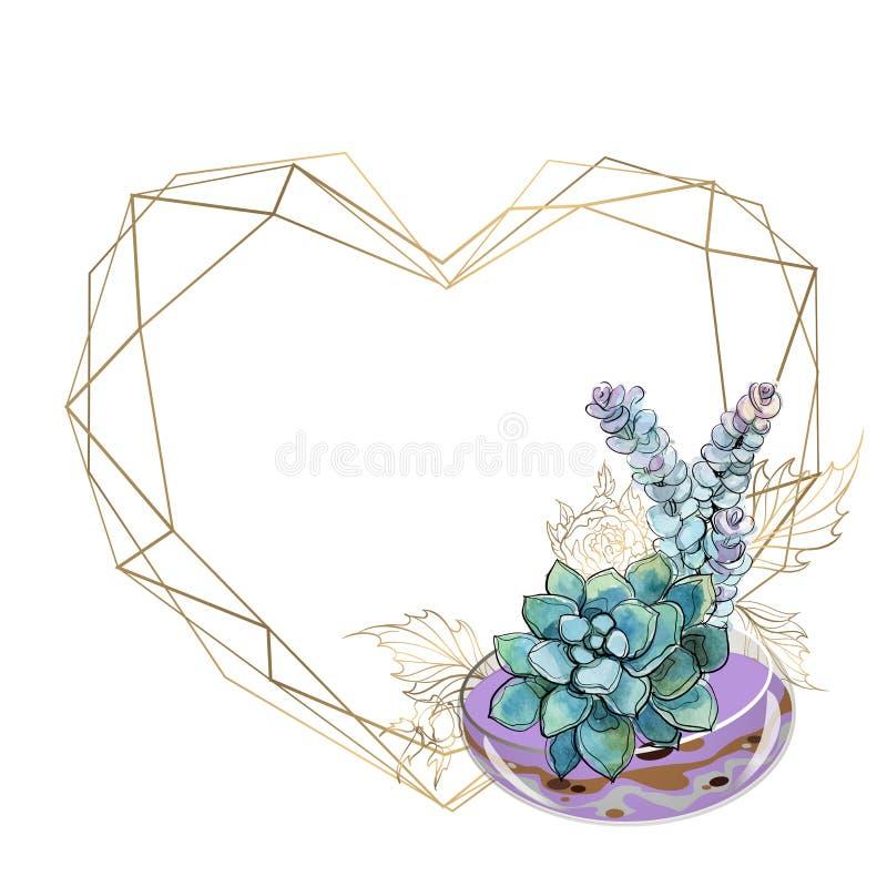 Marco del oro bajo la forma de corazón con un ramo de succulents ilustración del vector