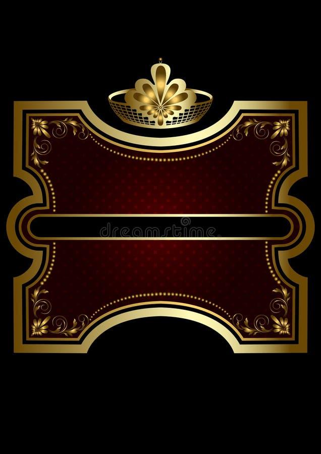 Marco del oro con el fondo brillante de Borgoña con una corona del oro ilustración del vector