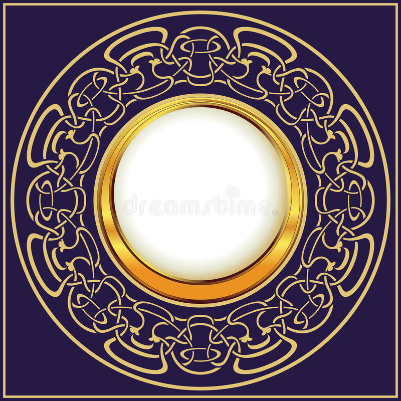 Marco del oro con el ornamental floral ilustración del vector