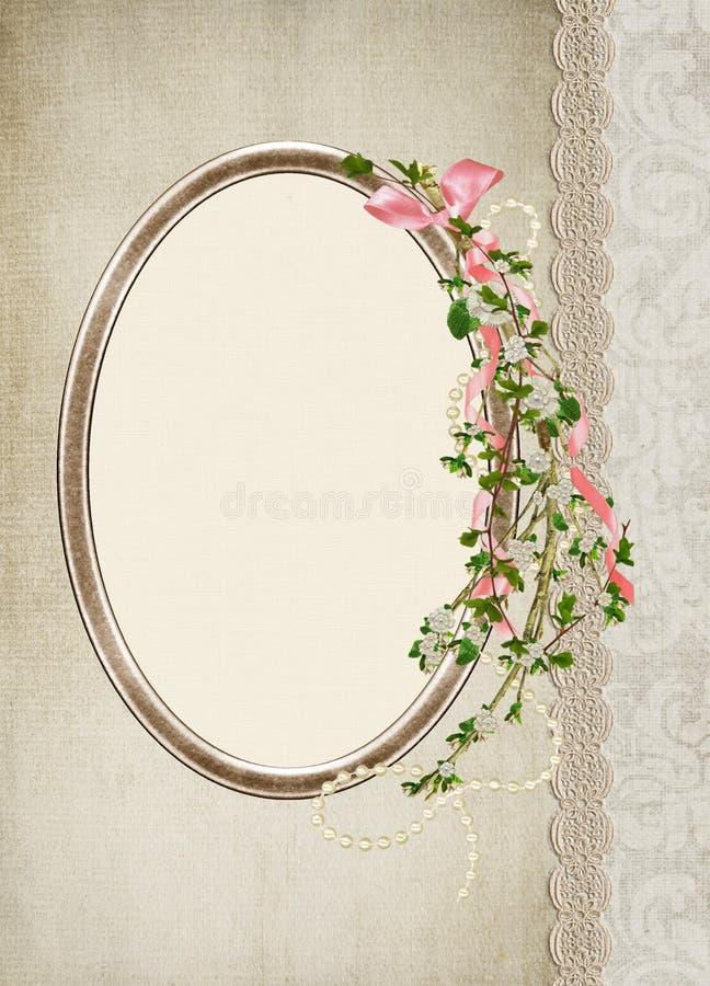 Marco del oro con la rama de la flor stock de ilustración
